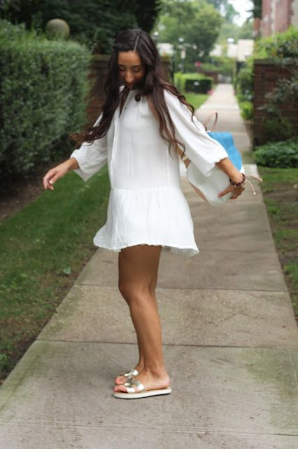 ATHENA ALEX - Outfit Post: Little White Dress - Flowy White Dress, Gold Slip-on Sandals, Blue and White Backpack - Full post and outfit details on www.AthenaAlex.com