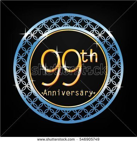 black background and blue circle 99th anniversary for business and various event