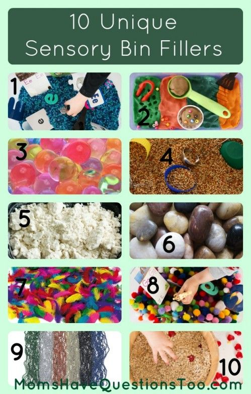 10 Creative sensory bin fillers. Includes both common and unique ideas. Also has container ideas for sensory bins!