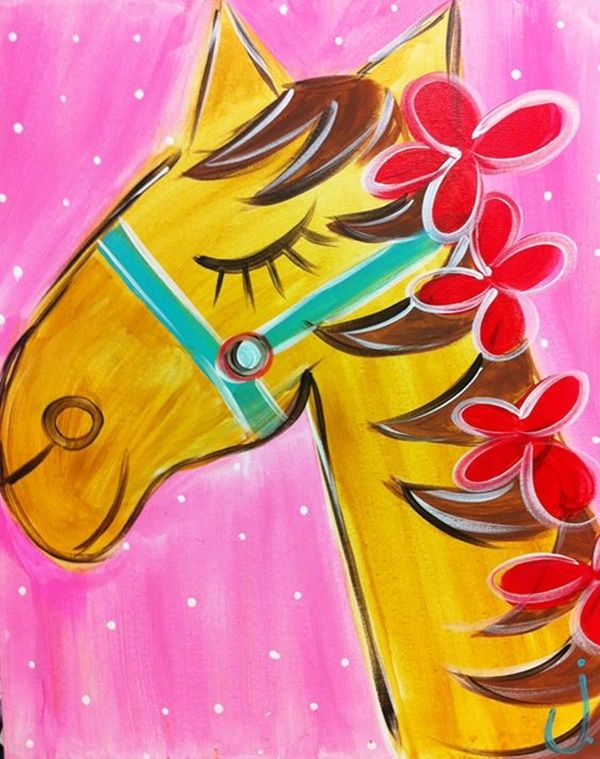 Easy Things To Paint On Canvas Horse Canvas Painting Kids