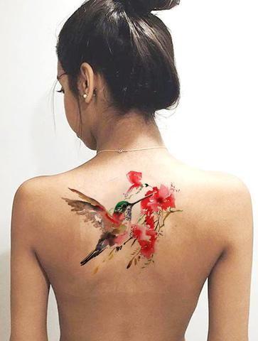 fd0027214fa79 Unique Watercolor Floral Hummingbird Back Tattoo Ideas for Women Colorful -  acuarela colibrí espalda tatuaje ideas para mujeres - www.MyBodiArt.com