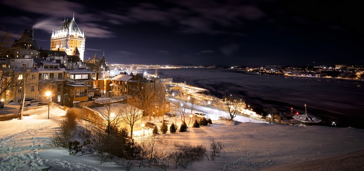 Quebec City in the cold. This is a snowy and cold view of superb Quebec City. We can see the Château Frontenac facing the Saint Lawrence River. I took this shot from an unknown park in town. In fact, the Terrasse Pierre Dugua de Mons is one of the most beautiful viewpoint in town and is also one of the loneliest spot.