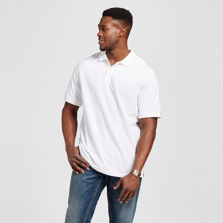 Men's Big & Tall Polo White 3XB Tall - Merona