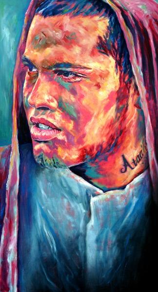 Sofia Minson   Oil Painting Stan Walker / Stan Walker won Australian Idol - he is a Kiwi (New Zealander)