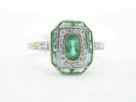 Shiny Pretty Things   Kay's Jewelers - Diamond and Emerald Ring - MJ14318