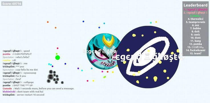 ℓєgєηď♔ğħøşŧ♘ nick name agario game score play agarioplay.org together! - Player: ℓєgєηď♔ğħøşŧ♘ / Score: 69716