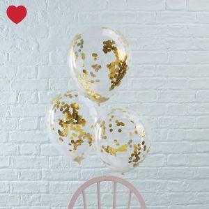 Confetti ballon goud (5st) Deze stijlvolletransparante ballonnen met goudeconfetti zijn perfect voor een verjaardagsfeest, een bruiloft, een vrijgezellenfeest, kerst, oud en nieuw of een examenfeest! Leuk om te combineren met onze tassels!  Aantal: 5 gevulde ballonnen Kleur: goud Materiaal: 100% natuur latex, en zijn volledig biologisch afbreekbaar Afmeting: 30 cm Brievenbuspost: ja, ze worden