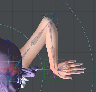 3d hand rig skeleton elbow wrist controller