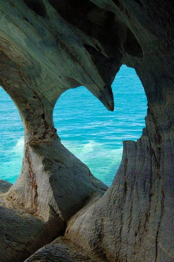 Heart in White Cave of Milos Island, Greece