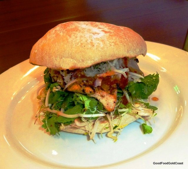 World burgers and organic free range chickens at Little Hen, Nobby Beach, Gold Coast