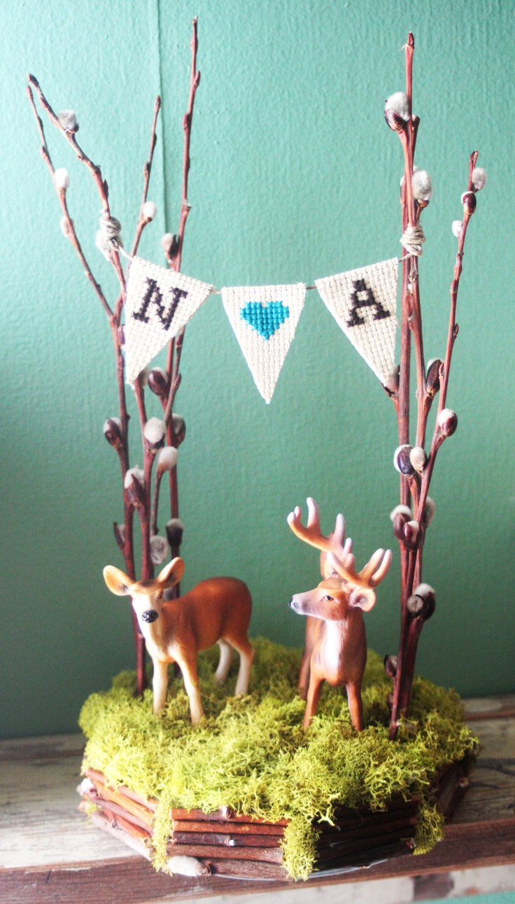 5 inch Forest of Love, Deer Cake Topper.