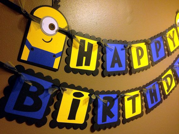 Minion / Despicable Me Inspired Happy Birthday Banner