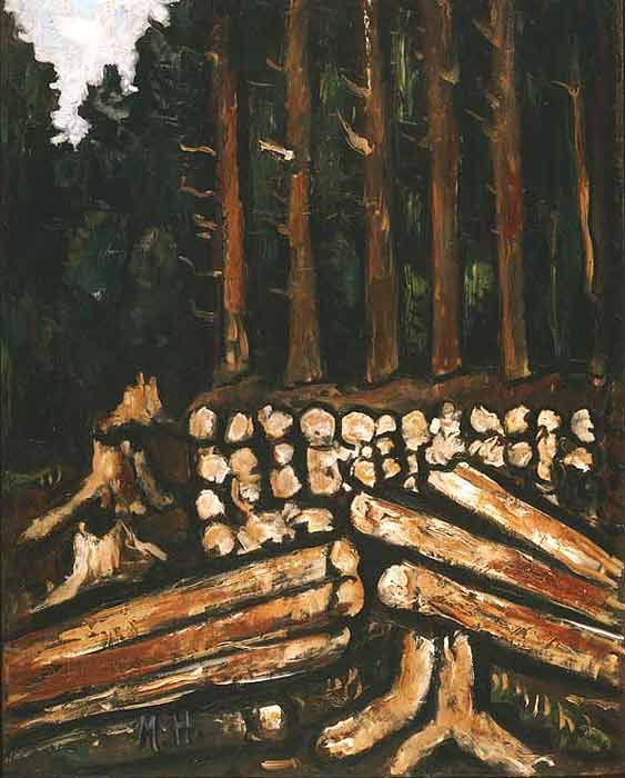'Wood Lot, Maine Woods' (1939) by American Modernist painter Marsden Hartley (1877-1943). Oil on canvas, 28.125 x 22 in. via the Phillips Collection