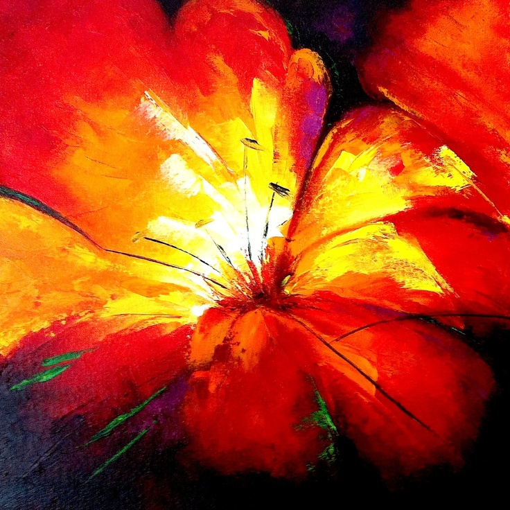 Centro de Tríptico florar por Cristina Chaparro. #flowers #orange #bloom #red #yellow #petals #oleo #oil