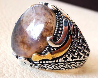 ovale yamani aqeeq couteau traditionnel naturel multi couleur agate Pierre hommes bague en argent sterling 925 bijoux en toutes les tailles خنجر, عقيق يماني