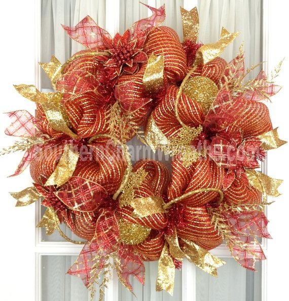 Mesh Christmas Wreath Red Gold Holiday Decor Glitter Ribbon Wreath