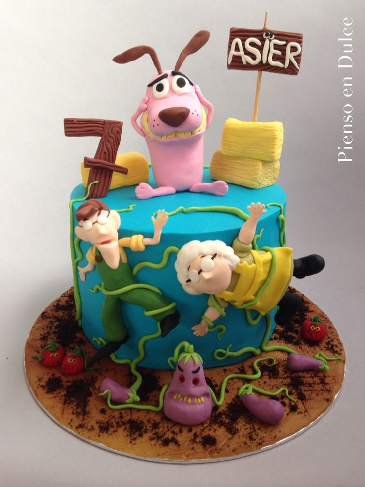 Courage, the cowardly dog cake, by Pienso en Dulce