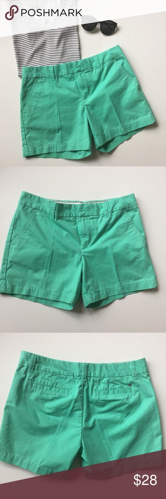 """Mint Tommy Hilfiger Shorts Mint green Tommy Hilfiger shorts that are in MINT condition (I crack myself up!). Seriously, they are in perfect condition. 5"""" inseam makes them terrible for Miley Cyrus concerts, Spring Break contests, and biker bars.. but perfect for sipping an Arnold Palmer at the country club or going to class & making a good impression. Shorts are great for ladies with some extra junk in the trunk (but not too loose for less curvy ladies!). Perfect shorts for spring and…"""