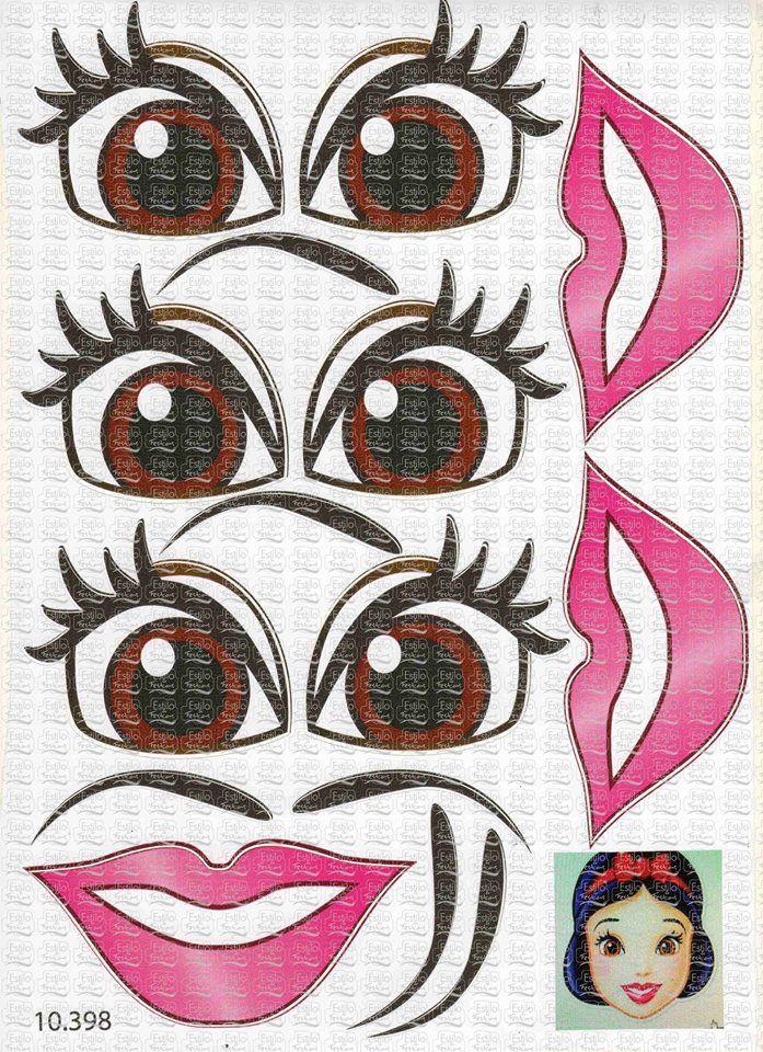 Adesivo Princesa para Boca e Olhos Marrons   Acessórios para festas
