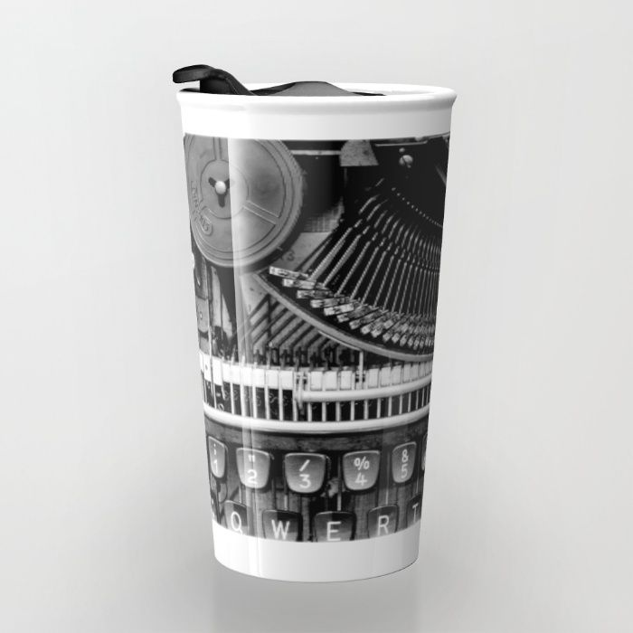 Typewriter Travel Mug by Mixed Imagery | Society6