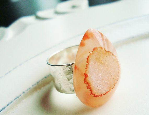 Peach Druzy Ring  Peachy Orange Sparkling Drusy by rhondajewelry, $54.00: Druzy Ring