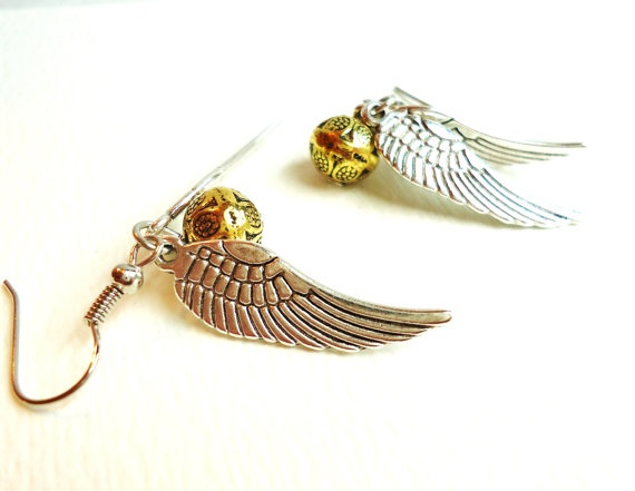 Harry Potter Golden Snitch Earrings  by ViperCoraraDesigns on Etsy, $10.00