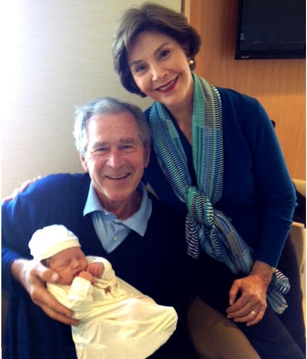 "Jenna Bush Hager's baby girl Margaret Laura ""Mila"" Hager with  grandparents George W. Bush and Laura Bush."