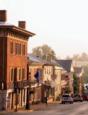 Main Street in Lexington, Virginia; lined with 19th-century storefronts.