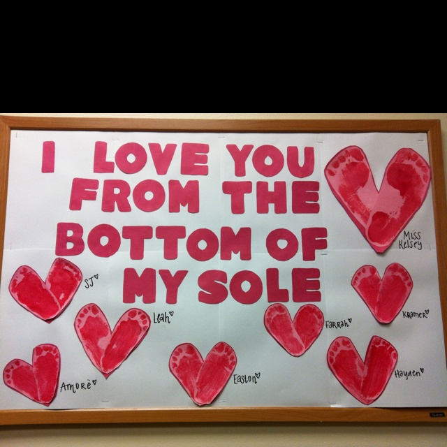 """As teachers, we use hand prints a lot, but I love this idea of using two foot prints to create a heart shape.  The title """"I Love You From the Bottom of My Sole"""" is a fun and unique title for Valentine's Day too!"""