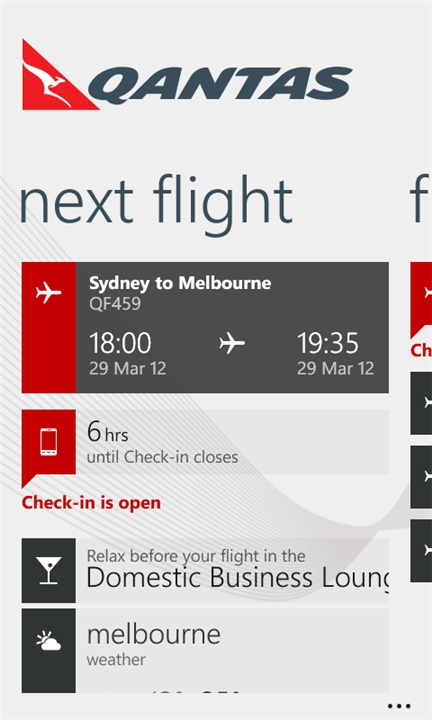 qantas airline app for Windows Phone 7.5