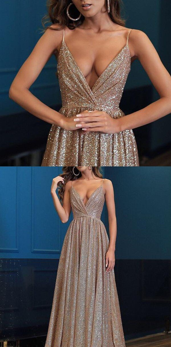 Great Spaghetti Straps V Neck Fairy Sparkly Sequin Modest Prom Dresses, long evening d…