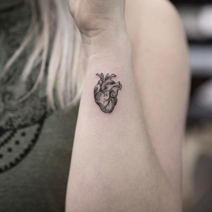 Tiny Anatomical Heart Tattoo by maxim.nyc