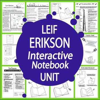 Nonfiction Informational Text, THREE Interactive Notebook assignments, and a balanced mix of engaging hands-on activities to teach students about the life and voyages of New World Explorer Leif Erikson.