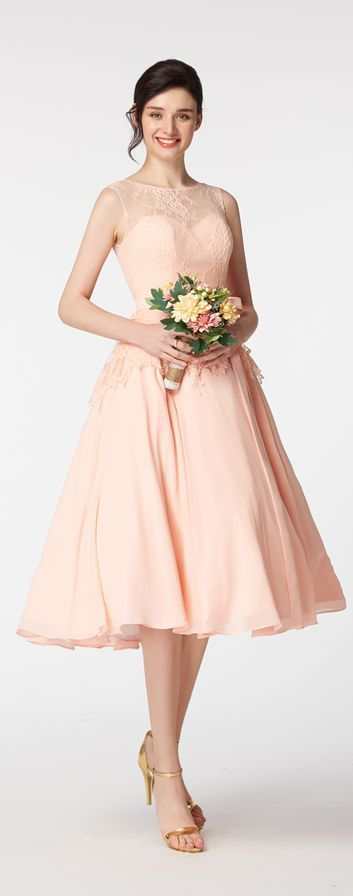 Blush bridesmaid dresses tea length lace bridesmaid gowns with bow