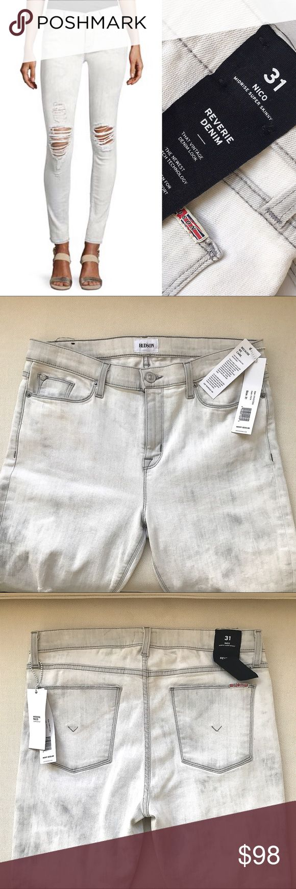 HUDSON Midrise Nico Skinny Distressed Jeans  <div class=
