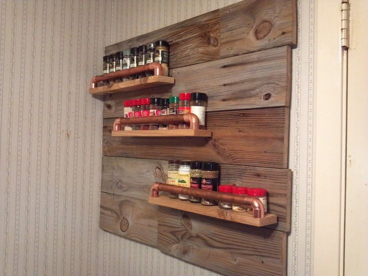 Cheap DIY Reclaimed Wooden Wall Mounted 3 Tiers Spice Rack with Rustic Style for Small Kitchen, 17 Kitchen cabinet & furniture designs in modern, traditional, contemporary style, including Nice Handmade Door Mounted Spice Rack for Door with Pine, Wood Dowels Materials, Solid Wood White 2 Tiers Kitchen Wall Mounted Spice Racks Design for Small Kitchen Ideas, etc. Wall Mounted Spice Rack Kitchen Organization