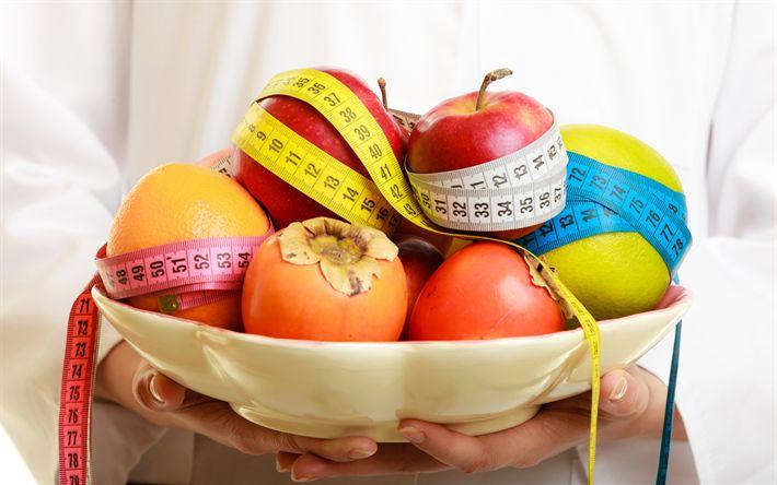 Scarica sfondi dimagrante, dieta concetti, 4k, mele, misura di nastro giallo, frutta di perdita di peso di concetti