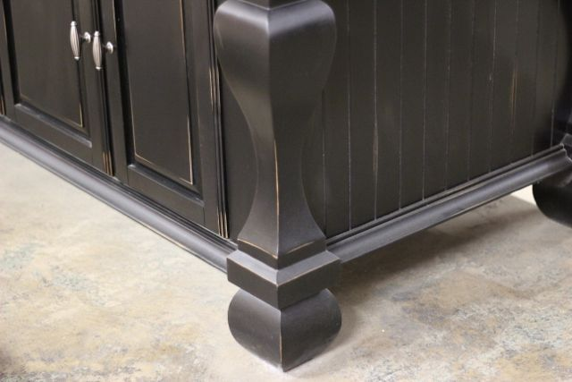 close up of our kitchen island series showing the detailing on the legs and distressed accents. Black Bedroom Furniture Sets. Home Design Ideas