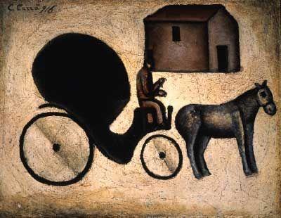 Carlo Carra,  La carrozzella Fine Art Reproduction Oil Painting