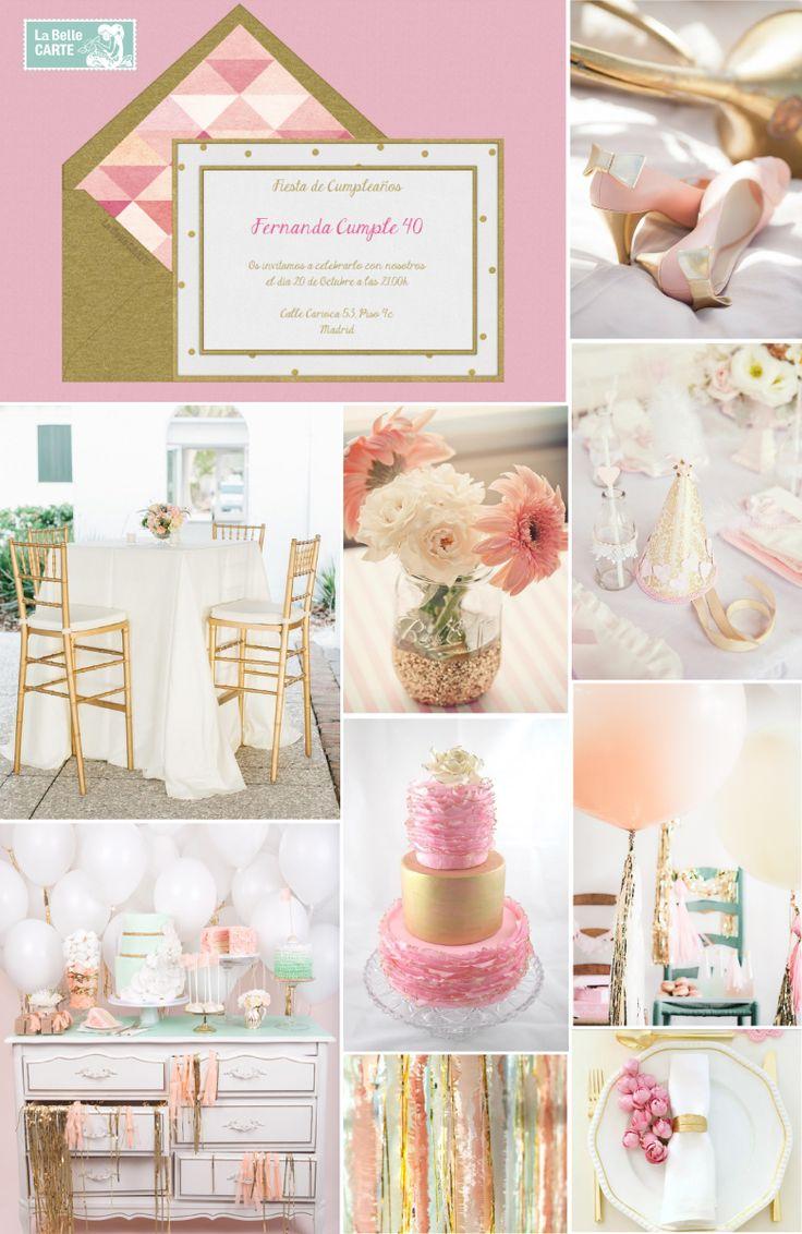 17 mejores ideas sobre invitaciones doradas en pinterest for Decoracion de cumpleanos rosa y dorado