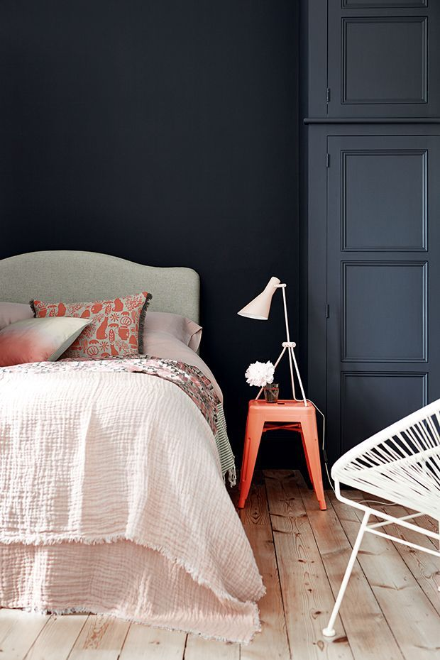 Room color, Bedding and Accessories; all magical. http://www.littlegreene.com/basalt-25296