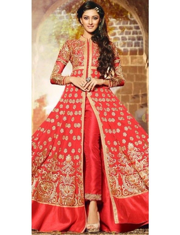 Attractive Pink And Cream Georgette Designer Full Length Anarkali Suit With Chiffon Dupatta.
