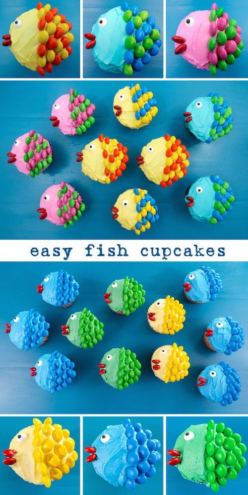 Fish cupcakes made with M&M's - adorable idea for a spring, summer, or beach themed party!                                                                                                                                                     More