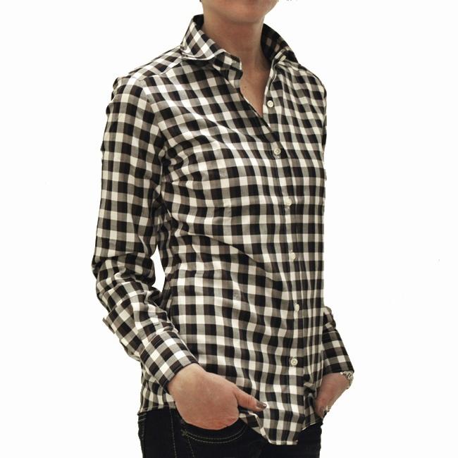 Camicia donna quadretti / Black and brown check blouse