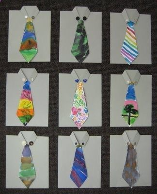 Fathers Day Fashion Kinder Style!   TeachKidsArt - shows how to cut the paper for the shirt, paint the tie with watercolors