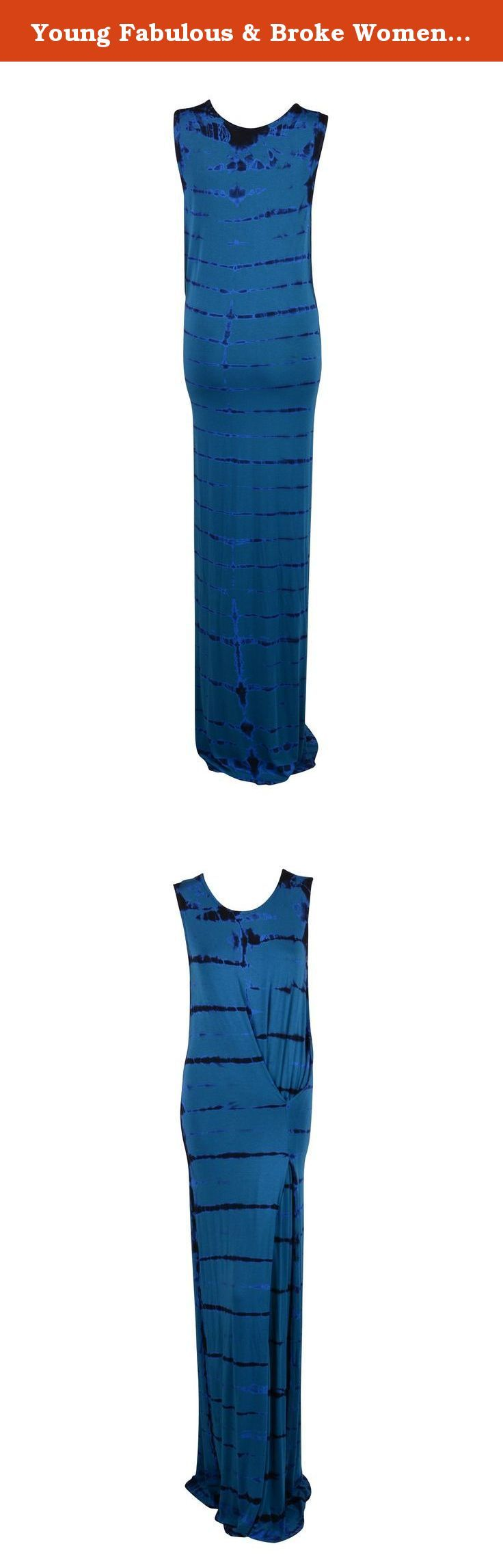 Young Fabulous & Broke Womens Teal Huxley Tie Dye Maxi Dress S. Modest scoop neck Teal/navy blue tie dye Stretch knit fabric Gathered seam at left side Full length Sleeveless.