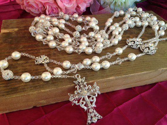 White Pearls wedding Lasso Swarovski 12mm and. With 12mm diamond cut crystals/Wedding Rosary / rhinestone wedding laso