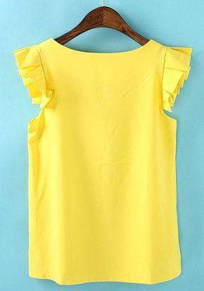 Yellow Plain Round Neck Short Sleeve Chiffon T-Shirt