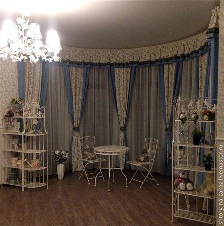Купить Шторы на заказ. Эркер-дуга - голубой, шторы, эркер, прованс, голубые цветы, ткани
