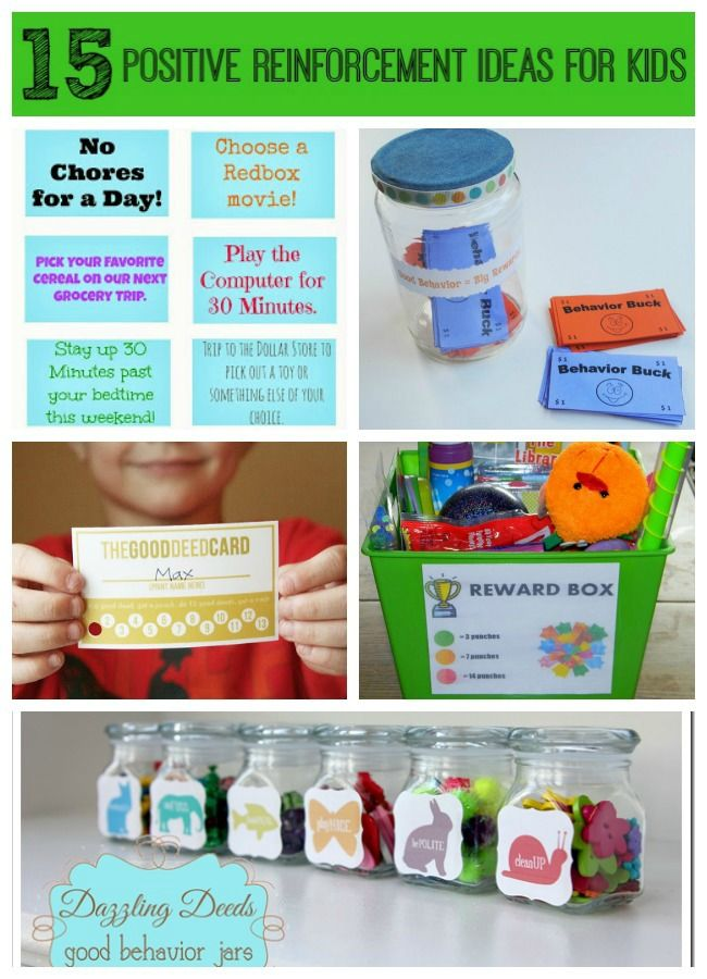 15 Positive Reinforcement Ideas for Kids - Rewards that Work. For related pins and resources follow https://www.pinterest.com/angelajuvic/autism-special-needs/